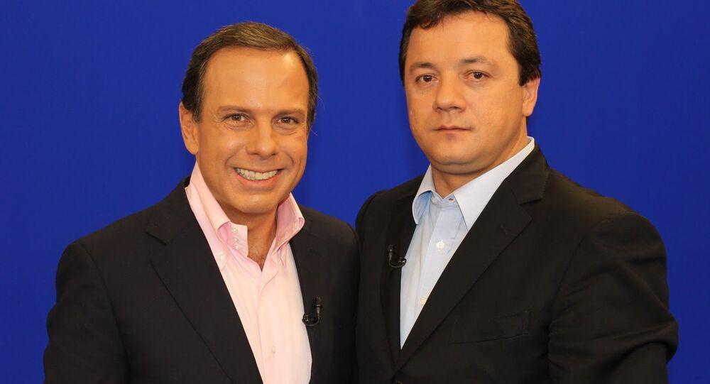 João Doria ao lado de Wesley Batista, um dos donos da JBS