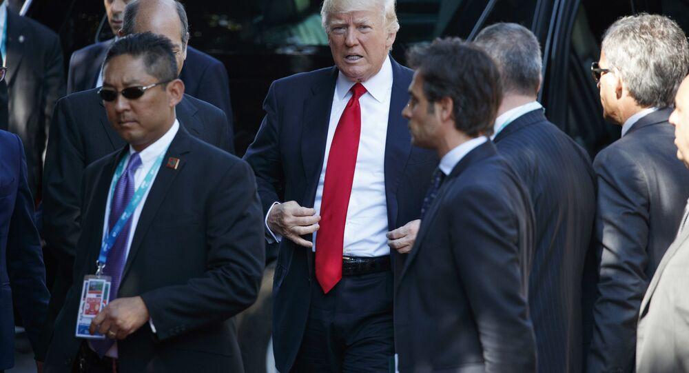 Presidente dos EUA, Donald Trump, durante a cúpula do G7, 27 de maio de 2017