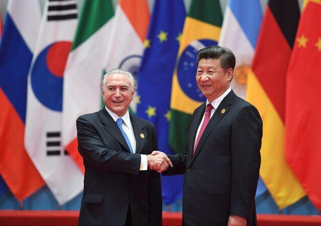Michel Temer e o presidente chinês, Xi Jinping, durante cúpula do G20 na China, em 2016