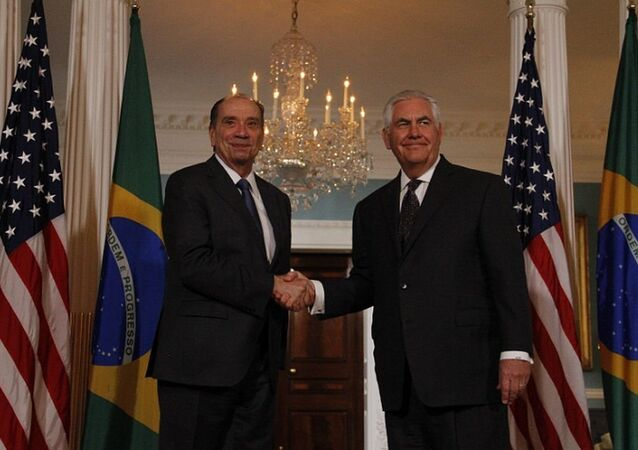 Encontro entre o chanceler brasileiro Aloysio Nunes e o secretário de Estado norte-americano Rex Tillerson