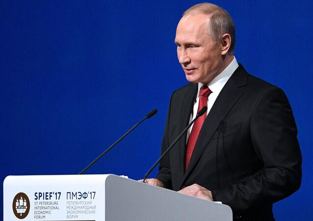 Presidente da Rússia, Vladimir Putin, durante o Fórum Econômico Internacional de São Petersburgo de 2017