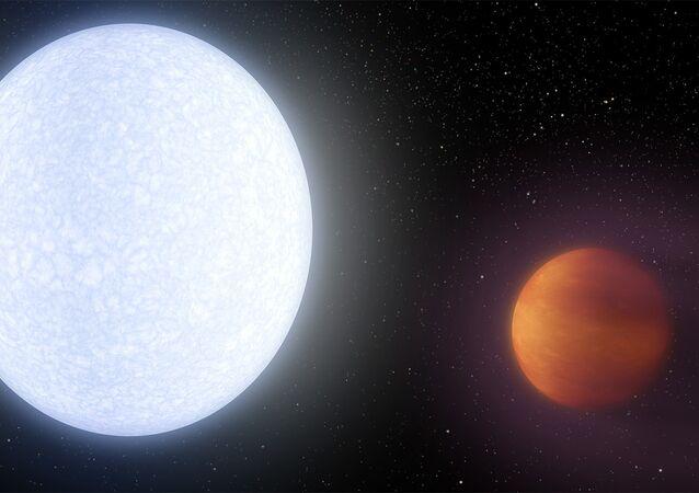 Pintura do exoplaneta KELT-9b (um dos exoplanetas mais quentes do universo) que está localizado muito perto da sua estrela