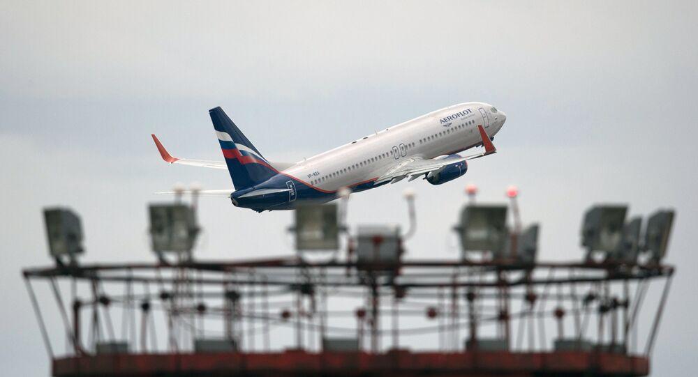 Boeing 777 no aeroporto de Sheremetyevo (arquivo)