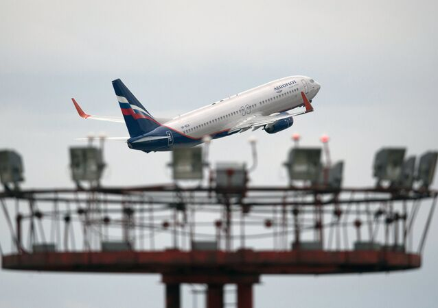 Aeroflot's Boeing 777 takes off at Sheremetyevo international airport.
