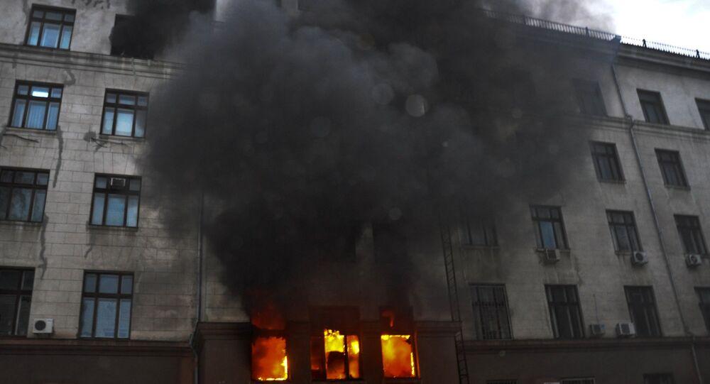 Incêndio no edifício da Casa dos Sindicatos de Odessa