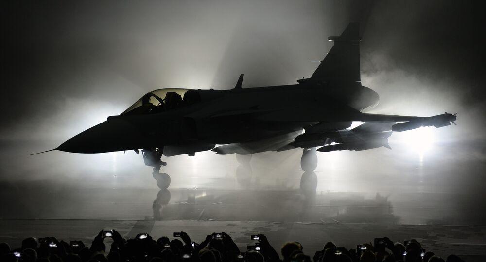 O primeiro protótipo do caça Gripen E da empresa sueca Saab