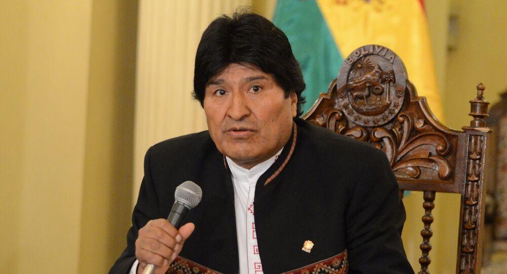 Evo Morales, presidente da Bolívia, durante coletiva de imprensa em La Paz (arquivo)