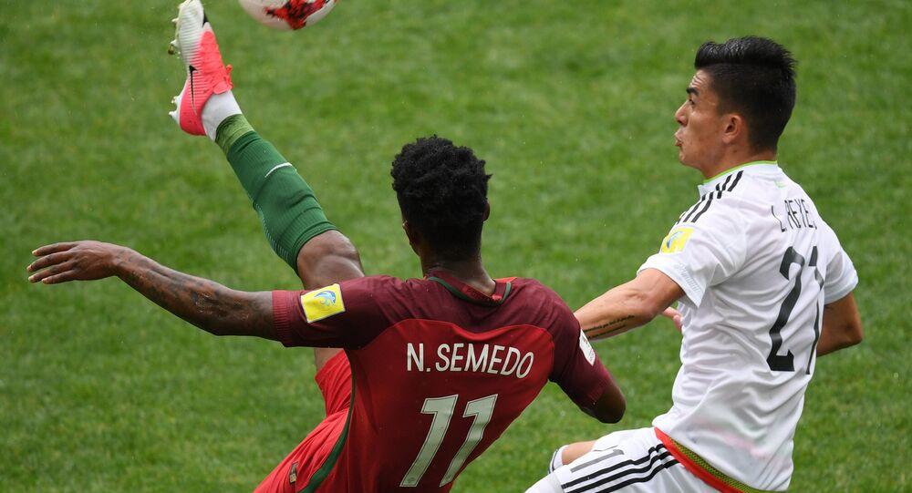 Disputa pelo terceiro lugar na Copa das Confederações de 2017, entre as equipes de Portugal e México, em 2 de julho de 2017