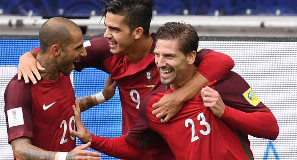 Seleção portuguesa de futebol após um golo decisivo na partida pelo terceiro lugar da Copa das Confederações, em 2 de julho de 2017