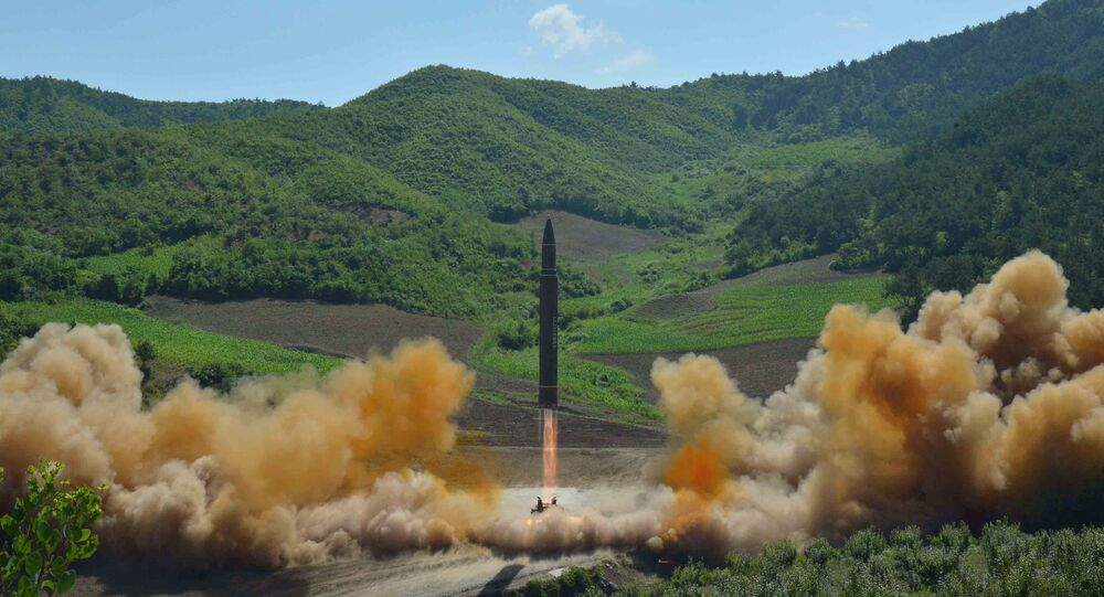 The intercontinental ballistic missile Hwasong-14 is seen during its test launch in this undated photo released by North Korea's Korean Central News Agency (KCNA) in Pyongyang, July, 4 2017.