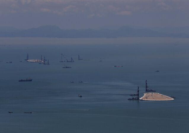 Construção da ponte Hong Kong-Zhuhai-Macau, China (foto de arquivo)
