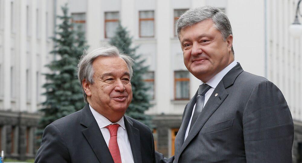 O secretário-geral da ONU, António Guterres, em encontro com o presidente da Ucrânia, Pyotr Poroshenko, em Kiev