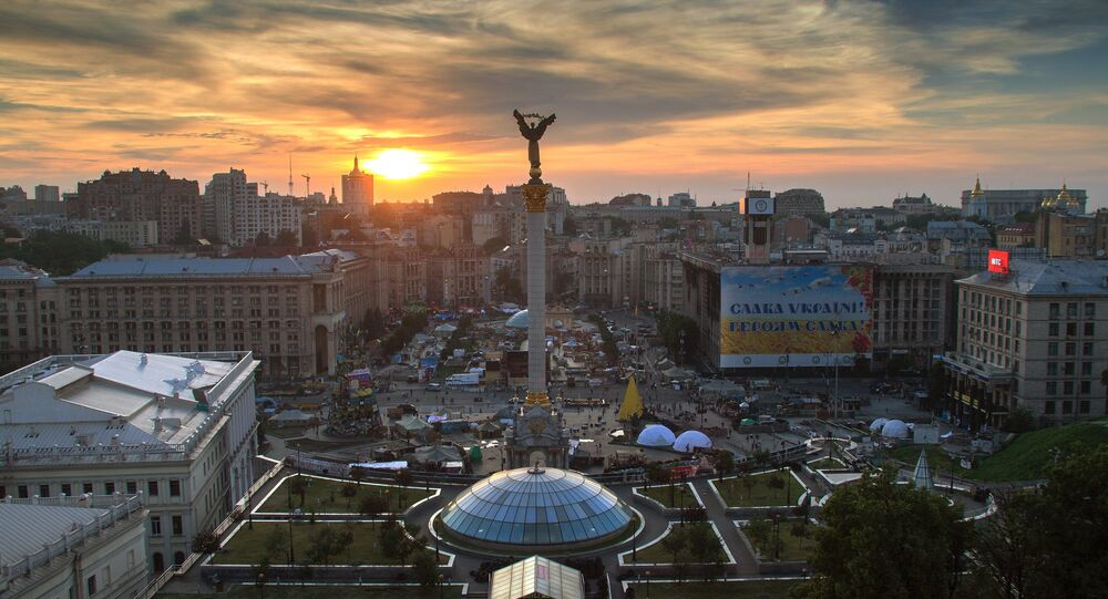 Praça de Independência (Maidan Nezalezhnosti) em Kiev, Ucrânia