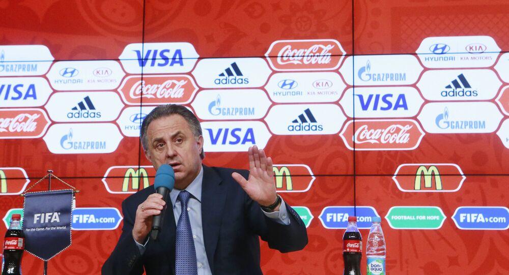 Vitaly Mutko, no lançamento do concurso para a escolha do mascote da Copa do Mundo de 2018