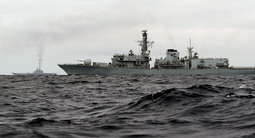 Uma fragata britânico no mar do Norte