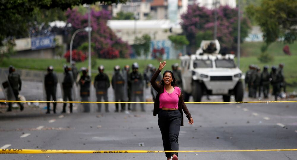 Manifestante em Caracas