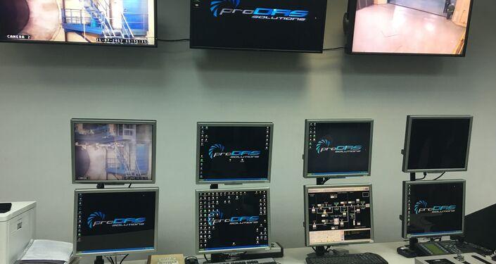 Sala de inspeção de provas de motores à distância na fábrica da Saturn, em Rybinsk