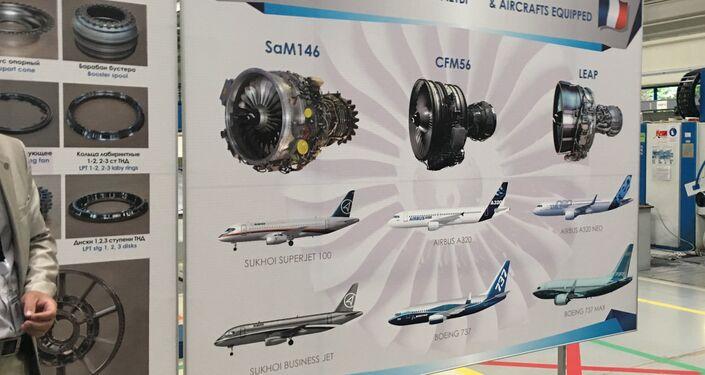 O mostruário que ilustra os motores de fabricação da VolgAero e seu uso na aviação civil