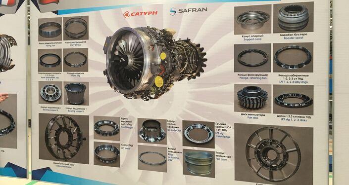 O mostruário revela as peças da produção russo-francesa que fazem parte do motor SaM146