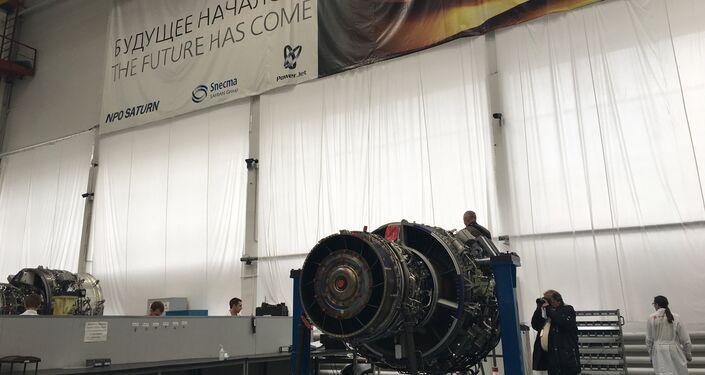 Motor SaM146 após a fase de montagem, na fábrica da Saturn em Rybinsk