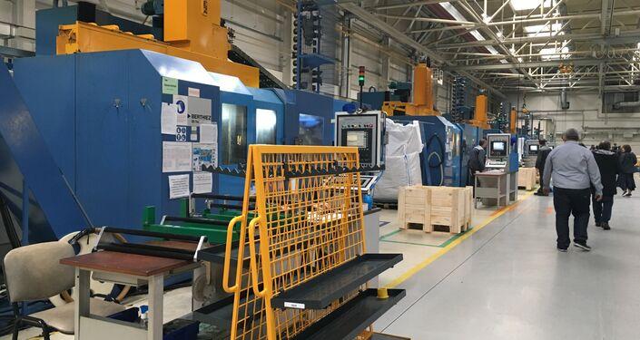 A fábrica de produção de motores na cidade russa de Rybinsk, na região de Yaroslavl
