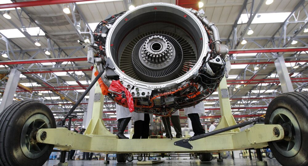 Montagem do motor SaM146 na fábrica Saturn