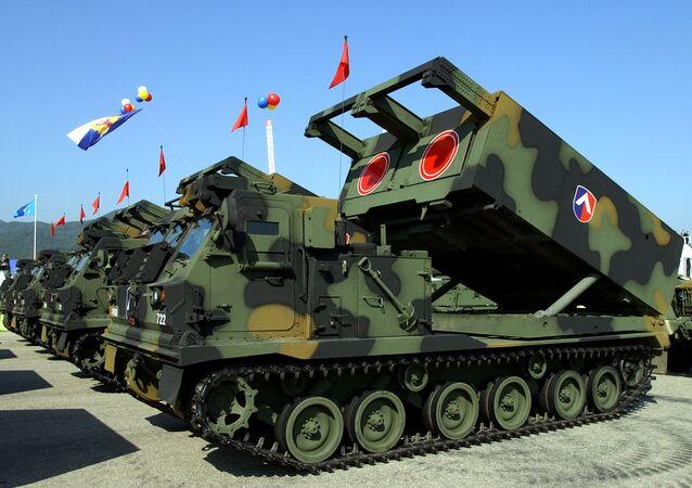 Sistema de mísseis americano ATACMS adquirido pelas Forças Armadas da Coreia do Sul (arquivo)