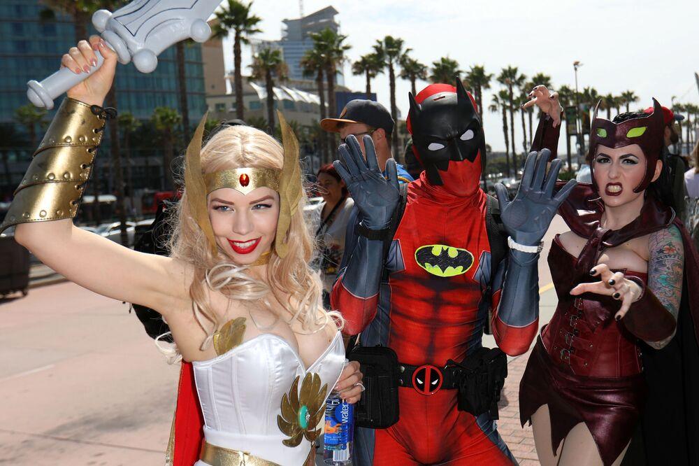 Participantes do famoso festival Comic Con International, na cidade norte-americana de San Diego