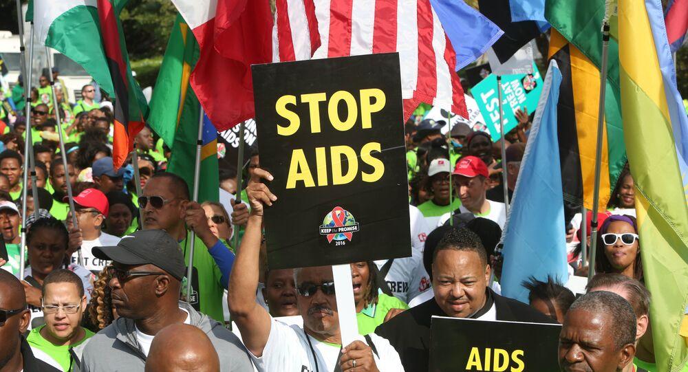 Manifestantes apelando para acabar com a AIDS, na cidade de Durban, África do Sul (foto de arquivo)