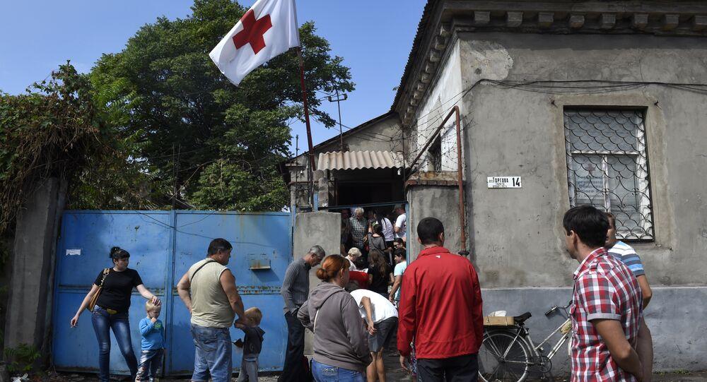 Escritório da Cruz Vermelha em Mariupol, na região de Donetsk
