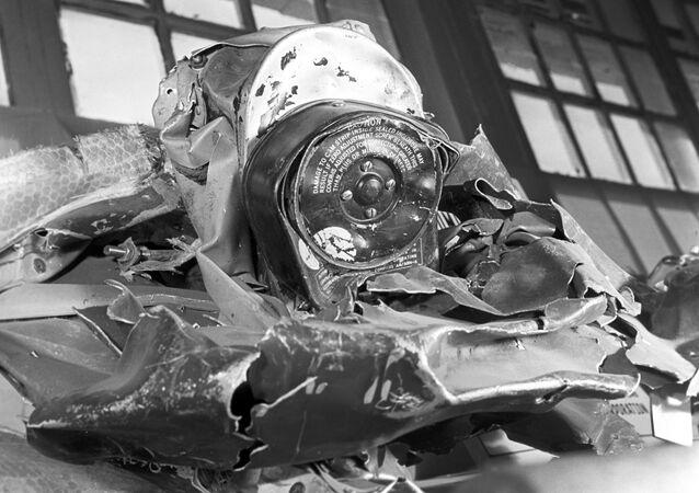 Restos do avião americano U-2 abatido na União Soviética em 1960
