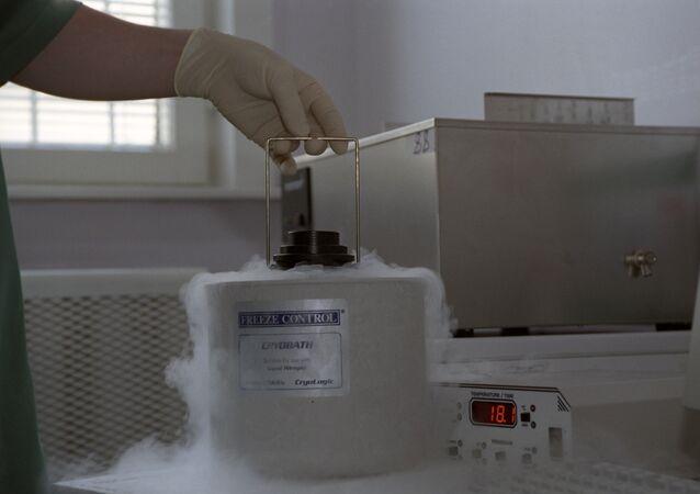 Esperma doado congelado em um hospital clínico russo, foto de arquivo