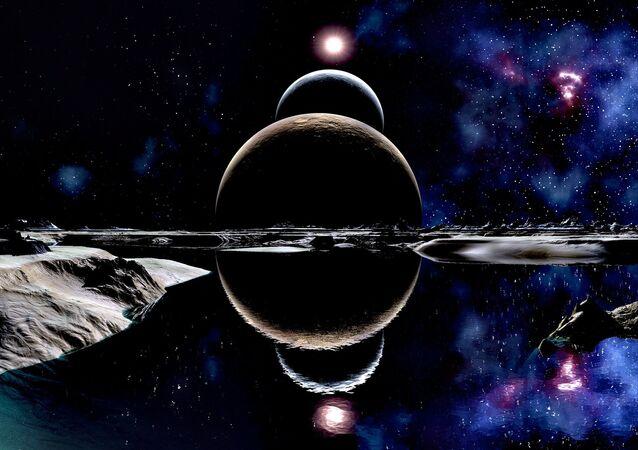 Dois planetas e sua Estrela (trabalho artístico)