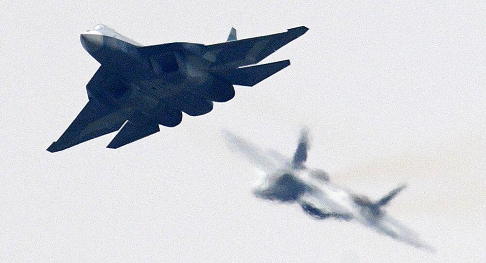 Caça da quinta geração Su-57 no salão aéreo MAKS-2017