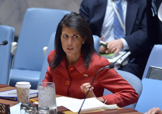 US Ambassador to the UN and current UN Security Council president, Nikki Haley arrives for a United Nations Security Council meeting on Syria, at the UN headquarters in New York