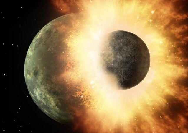 Visão artística de colisão do cometa Swift-Tuttle com a Terra