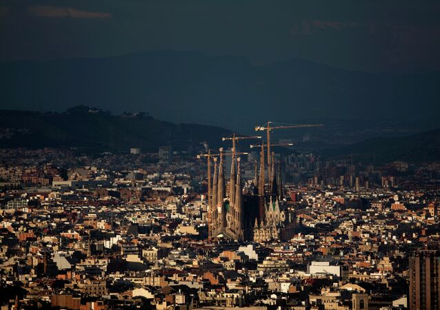 In this photo taken on Monday, Nov 1, 2010, a general view of the Sagrada Familia church is seen in Barcelona, Spain