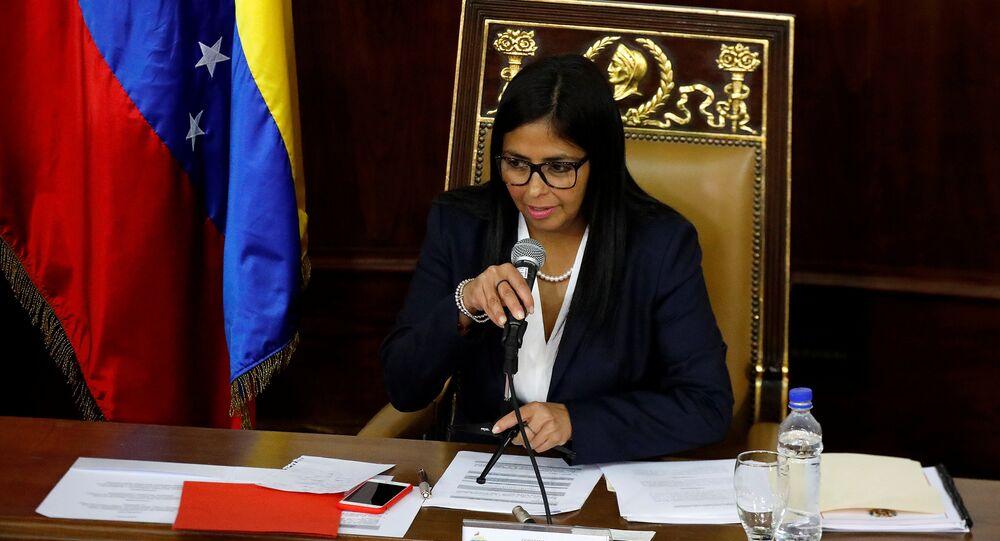 Vice-presidente da Venezuela, Delcy Rodríguez em Caracas (foto de arquivo)
