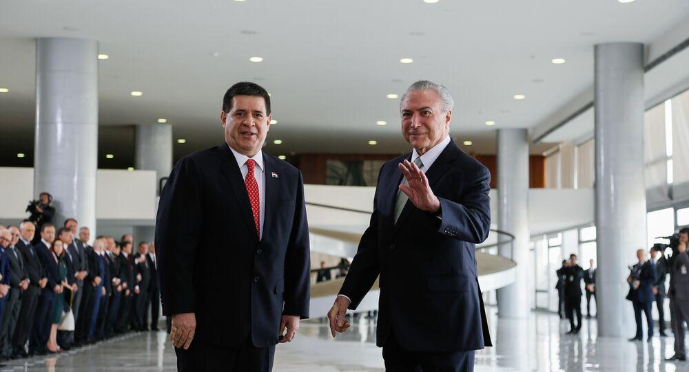 Agenda de Horacio Cartes e Michel Temer incluiu intercâmbio comercial, combate ao narcotráfico e acordo Mercosul-UE
