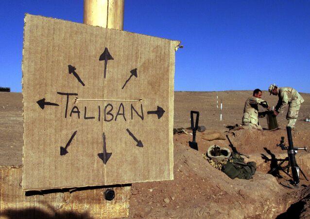Pôster Talibã no Afeganistão
