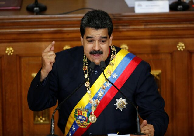 Venezuela's President Nicolas Maduro gestures as he speaks during a session of the National Constituent Assembly