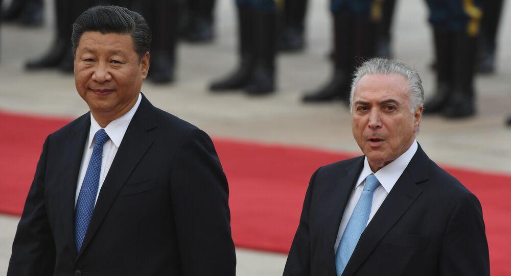 Os presidentes de Brasil e China, Michel Temer e Xi Jinping, durante encontro em Pequim, nesta sexta-feira, 1 de setembro de 2017