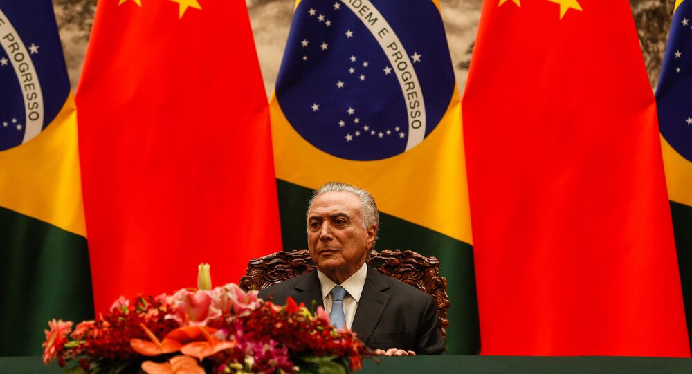 Presidente do Brasil, Michel Temer, em visita à China