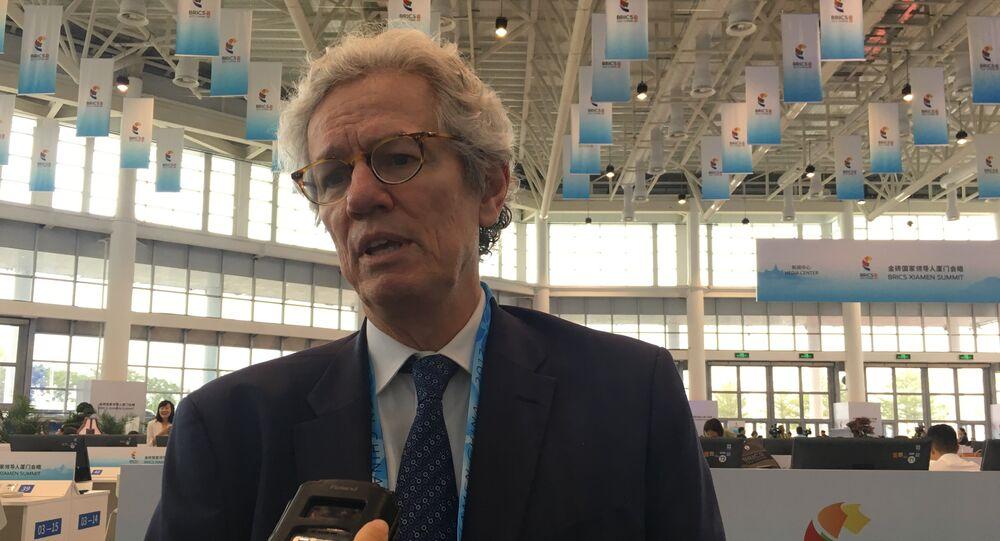 Paulo Nogueira Batista Jr, ex-vice-presidente Do Novo Banco de Desenvolvimento dos BRICS, em 3 de setembro de 2017, em Xiamen