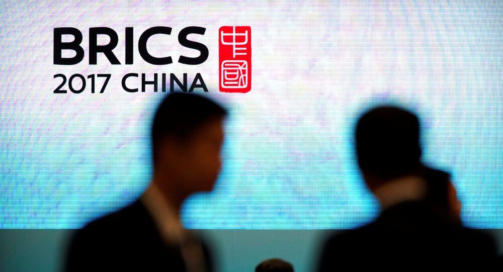 Participantes do forúm empresarial BRICS Business Forum em Xiamen China, 3 de setembro de 2017