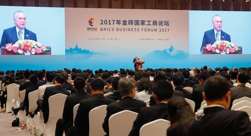 Presidente Michel Temer, durante a abertura do Fórum Empresarial do BRICS em Xiamen, China