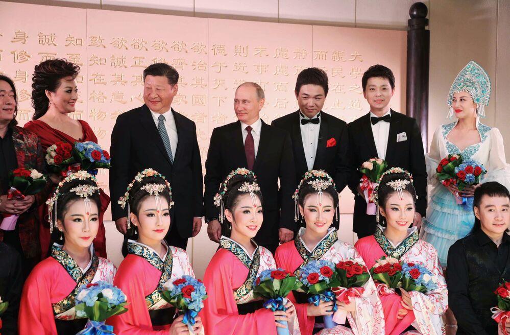 Os líderes, Vladimir Putin e Xi Jinping, durante concerto na cidade de Xiamen