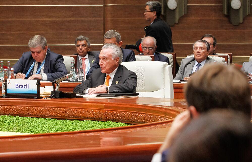Michel Temer (PMDB) discursa durante reunião ampliada dos Chefes de Estado e de Governo do BRICS.
