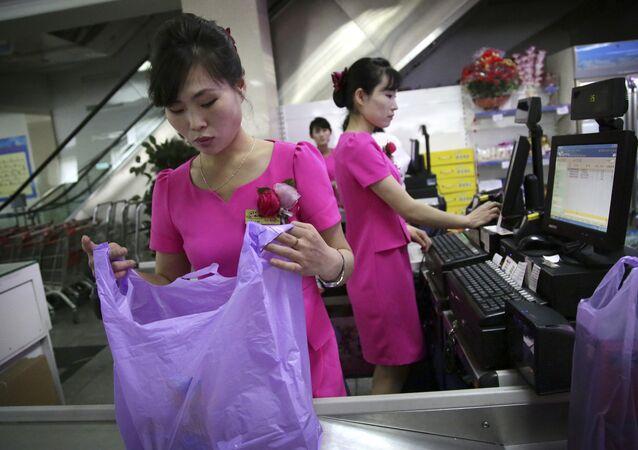 Potonggang, um supermercado em Pyongyang, administrado pelo Estado