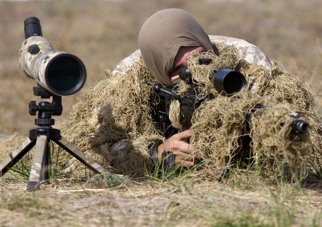 Franco-atirador ucraniano, foto de arquivo